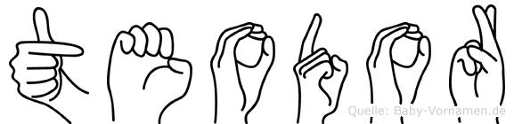 Teodor im Fingeralphabet der Deutschen Gebärdensprache