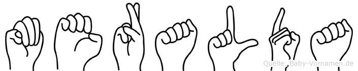 Meralda im Fingeralphabet der Deutschen Gebärdensprache
