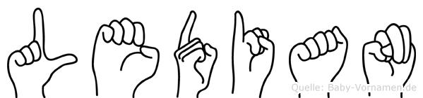 Ledian im Fingeralphabet der Deutschen Gebärdensprache
