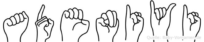 Adeniyi im Fingeralphabet der Deutschen Gebärdensprache