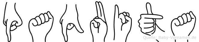 Paquita im Fingeralphabet der Deutschen Gebärdensprache