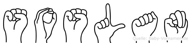 Soslan im Fingeralphabet der Deutschen Gebärdensprache