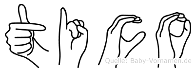 Tico im Fingeralphabet der Deutschen Gebärdensprache