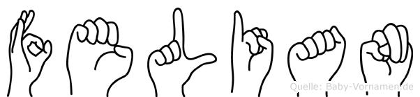 Felian im Fingeralphabet der Deutschen Gebärdensprache