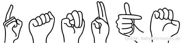 Danute im Fingeralphabet der Deutschen Gebärdensprache