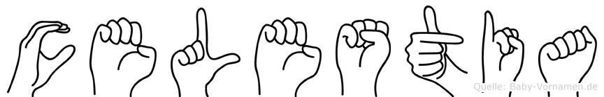 Celestia im Fingeralphabet der Deutschen Gebärdensprache