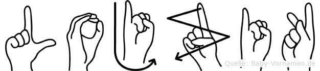 Lojzik im Fingeralphabet der Deutschen Gebärdensprache