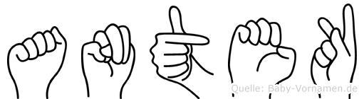 Antek in Fingersprache für Gehörlose