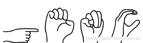 Genc im Fingeralphabet der Deutschen Gebärdensprache