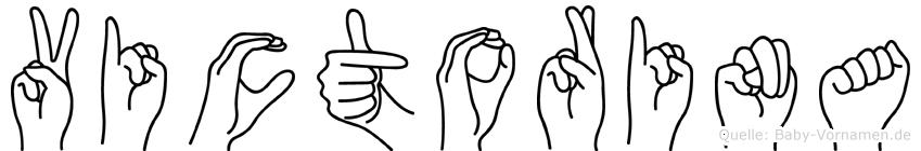 Victorina im Fingeralphabet der Deutschen Gebärdensprache