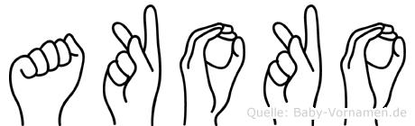 Akoko im Fingeralphabet der Deutschen Gebärdensprache