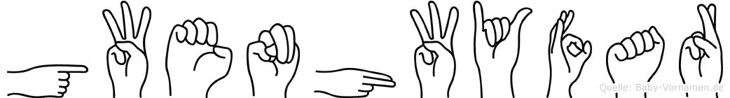 Gwenhwyfar im Fingeralphabet der Deutschen Gebärdensprache