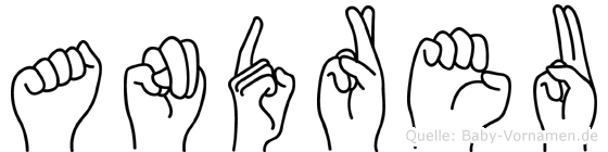 Andreu in Fingersprache für Gehörlose