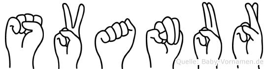 Svanur im Fingeralphabet der Deutschen Gebärdensprache