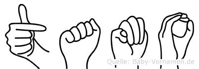 Tamo im Fingeralphabet der Deutschen Gebärdensprache