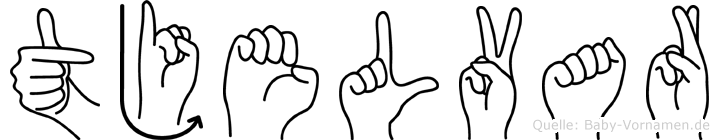 Tjelvar im Fingeralphabet der Deutschen Gebärdensprache