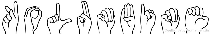 Kolumbine im Fingeralphabet der Deutschen Gebärdensprache