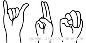 Yun in Fingersprache für Gehörlose