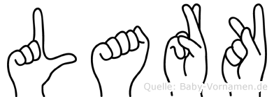 Lark im Fingeralphabet der Deutschen Gebärdensprache