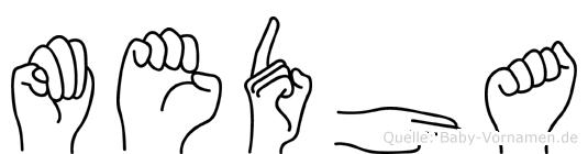 Medha in Fingersprache für Gehörlose