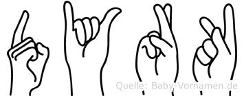 Dyrk im Fingeralphabet der Deutschen Gebärdensprache