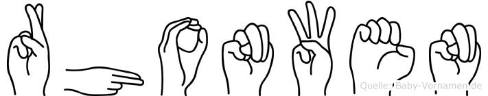 Rhonwen in Fingersprache für Gehörlose