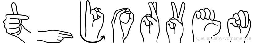 Thjorven im Fingeralphabet der Deutschen Gebärdensprache