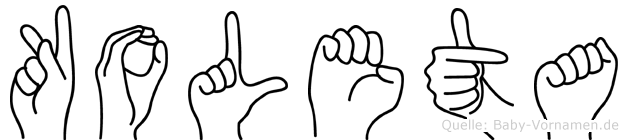 Koleta im Fingeralphabet der Deutschen Gebärdensprache