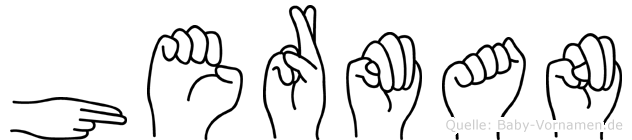 Herman im Fingeralphabet der Deutschen Gebärdensprache