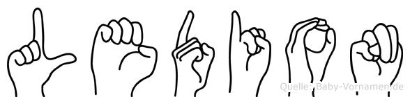 Ledion im Fingeralphabet der Deutschen Gebärdensprache