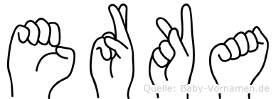 Erka im Fingeralphabet der Deutschen Gebärdensprache