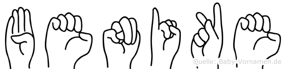 Benike im Fingeralphabet der Deutschen Gebärdensprache