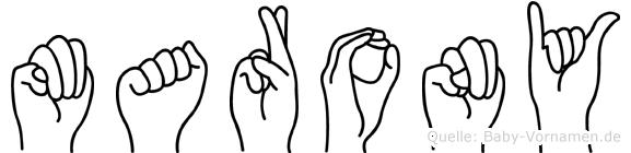 Marony im Fingeralphabet der Deutschen Gebärdensprache
