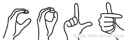 Colt im Fingeralphabet der Deutschen Gebärdensprache