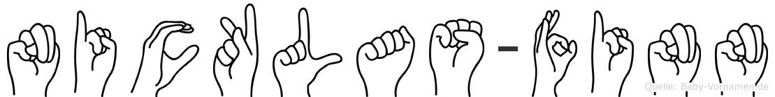 Nicklas-Finn im Fingeralphabet der Deutschen Gebärdensprache