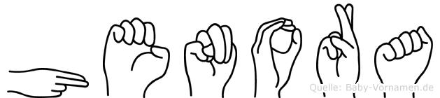 Henora im Fingeralphabet der Deutschen Gebärdensprache