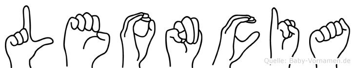 Leoncia im Fingeralphabet der Deutschen Gebärdensprache