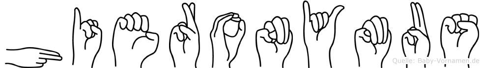 Hieronymus im Fingeralphabet der Deutschen Gebärdensprache