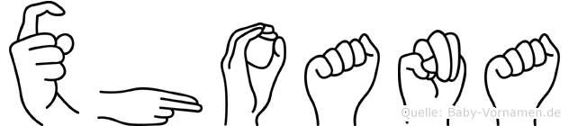 Xhoana in Fingersprache für Gehörlose