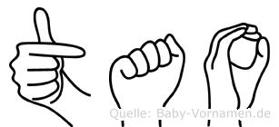 Tao im Fingeralphabet der Deutschen Gebärdensprache