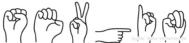 Sevgin im Fingeralphabet der Deutschen Gebärdensprache