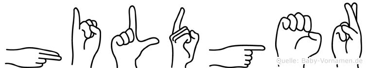 Hildger im Fingeralphabet der Deutschen Gebärdensprache