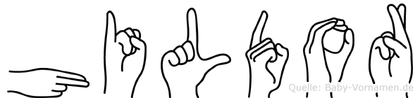Hildor im Fingeralphabet der Deutschen Gebärdensprache