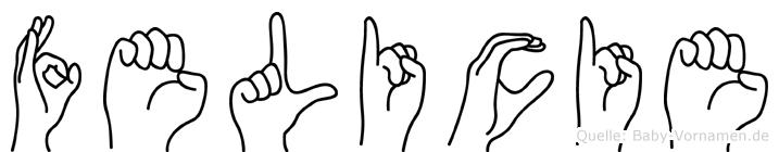 Felicie im Fingeralphabet der Deutschen Gebärdensprache