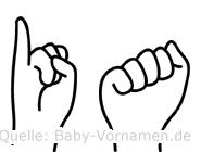 Ia im Fingeralphabet der Deutschen Gebärdensprache