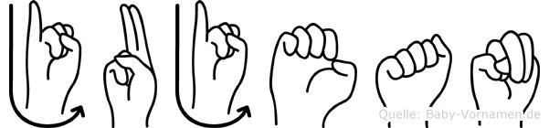 Jujean im Fingeralphabet der Deutschen Gebärdensprache