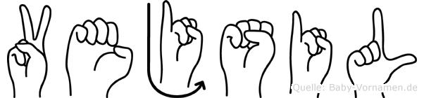 Vejsil im Fingeralphabet der Deutschen Gebärdensprache