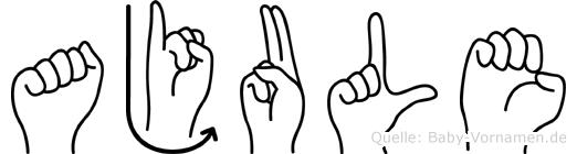 Ajule im Fingeralphabet der Deutschen Gebärdensprache