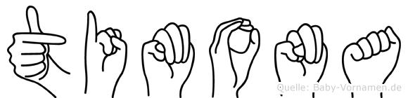 Timona im Fingeralphabet der Deutschen Gebärdensprache