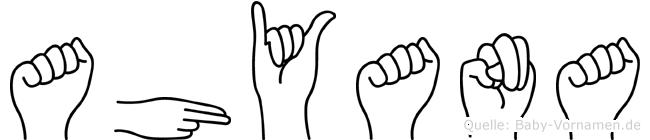 Ahyana im Fingeralphabet der Deutschen Gebärdensprache
